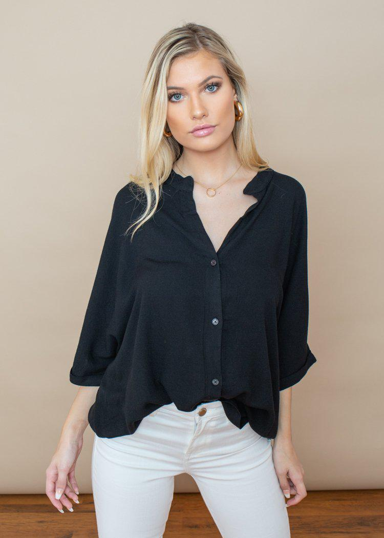 Bobi Beach Crepe Dolman Button Down Sleeve Blouse -***FINAL SALE**-Hand In Pocket