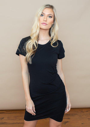 Bobi Short Sleeve Ruched Dress-Black-Hand In Pocket