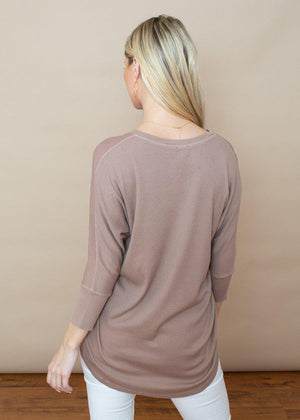 Bobi 3/4 Sleeve Hi/Lo Ribbed Contrast Tee-Java-Hand In Pocket