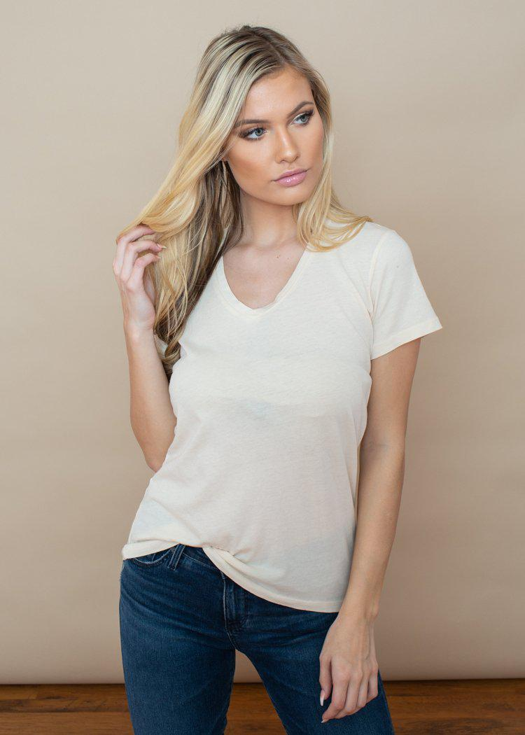 Bobi Basic V-Neck Tee- Nudist-Hand In Pocket