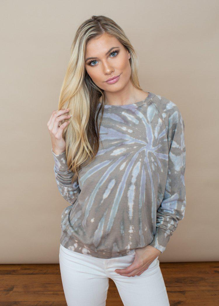 Lovestitch Olive Multi Tie Dye Pullover-Hand In Pocket