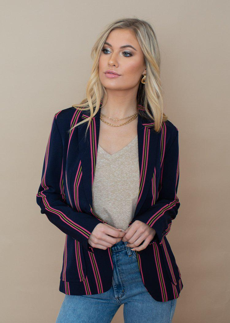 BB Dakota Pink Stripe Put a Pin in it Navy Blazer ***FINAL SALE***-Hand In Pocket