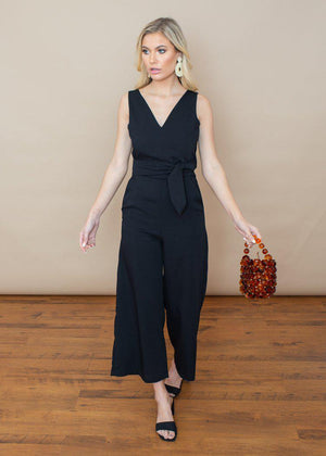 Rd Style Black Tie Waist Criss Cross Back Jumpsuit-Hand In Pocket
