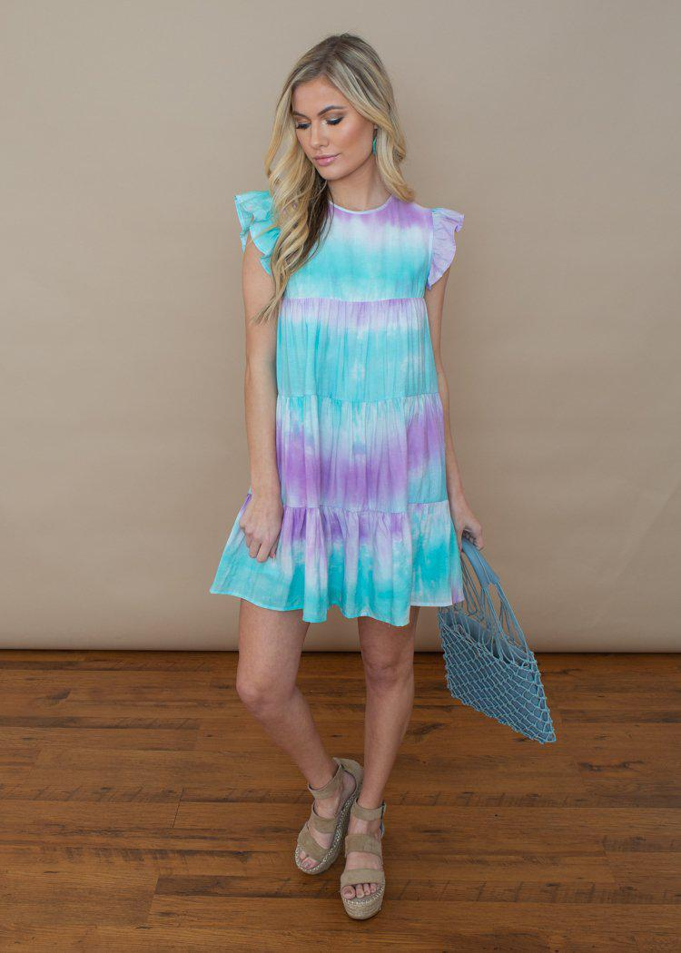 Negril Blue and Purple Tie Dye Mini Dress-Hand In Pocket