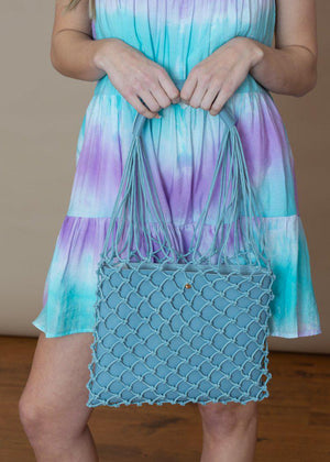 Ischia Sky Blue Mesh Mixed Media Tote-Hand In Pocket