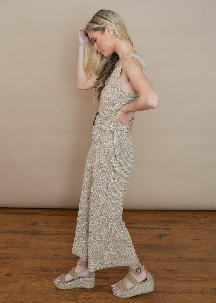 Lucy Paris Camille Beige Knit Belted Jumpsuit-***FINAL SALE***-Hand In Pocket