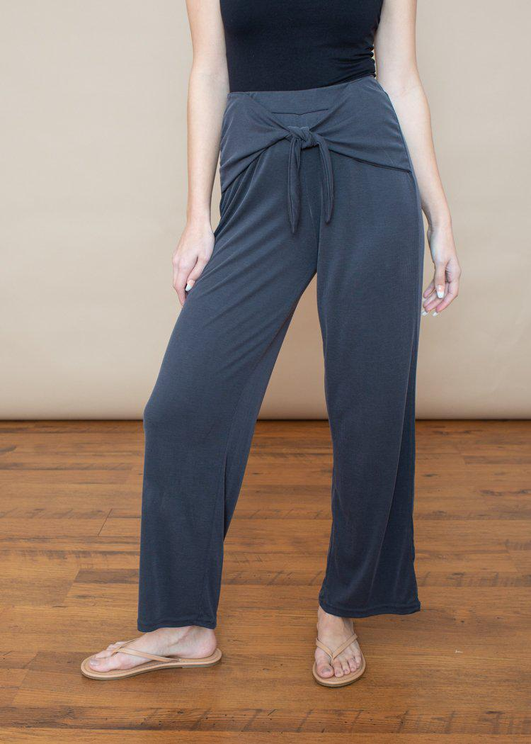 BB Dakota Got To Be Free Charcoal Ribbed Tie Front Pants-Hand In Pocket