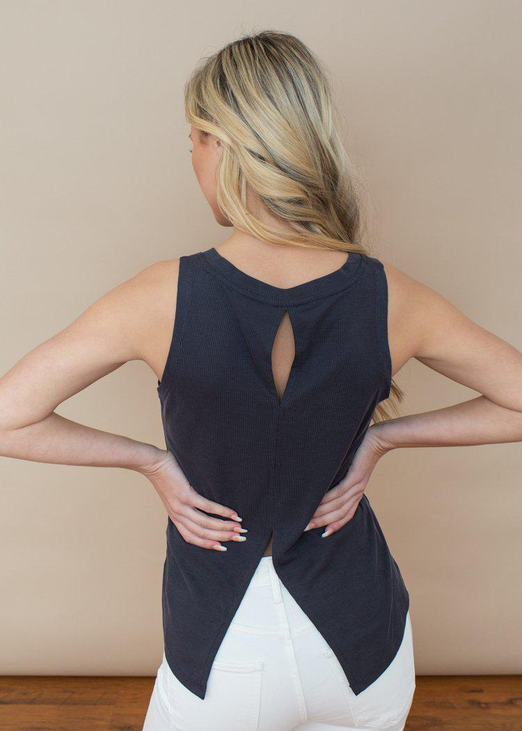 BB Dakota Off Duty Charcoal Back For More Muscle Tank-Hand In Pocket