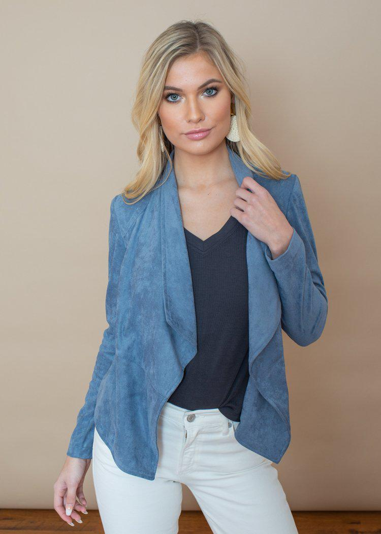 BB Dakota Hazey Blue Suede It Out Jacket-***FINAL SALE***-Hand In Pocket