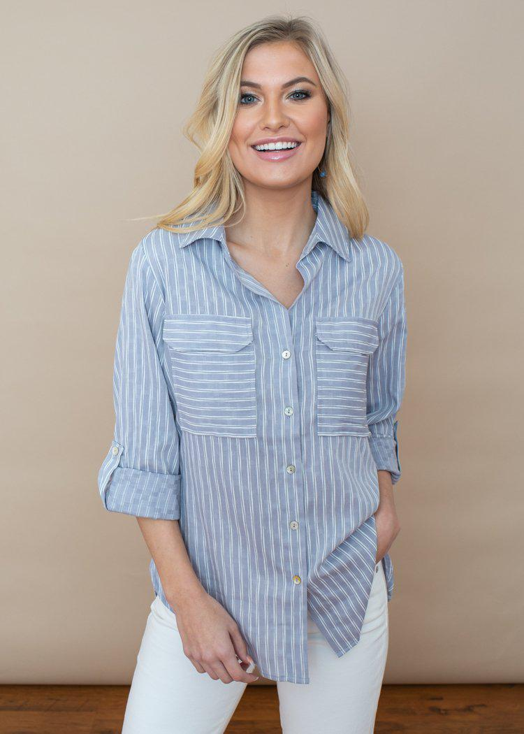 Velvet Heart Idea Blue and White Stripe Button Up Tunic-***FINAL SALE***-Hand In Pocket