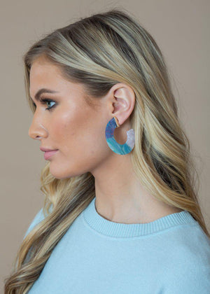 Agua Ocean Blue Acrylic Hoops-Hand In Pocket