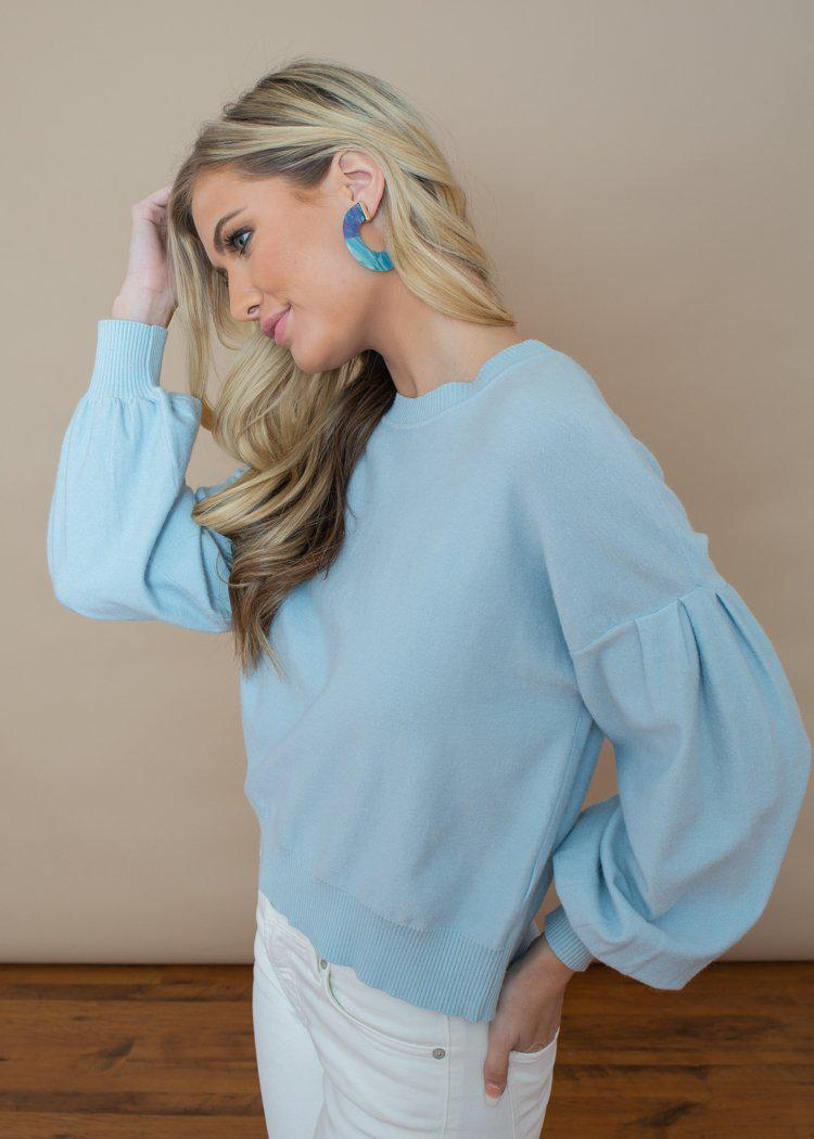 Lucy Paris Louise Blue Puff Sleeve Sweater-Hand In Pocket