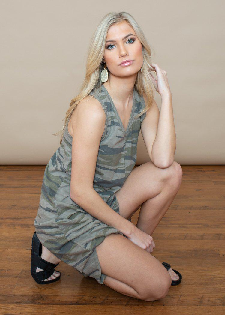 Z Supply Reverie Midi Dress - Camo Green-Hand In Pocket