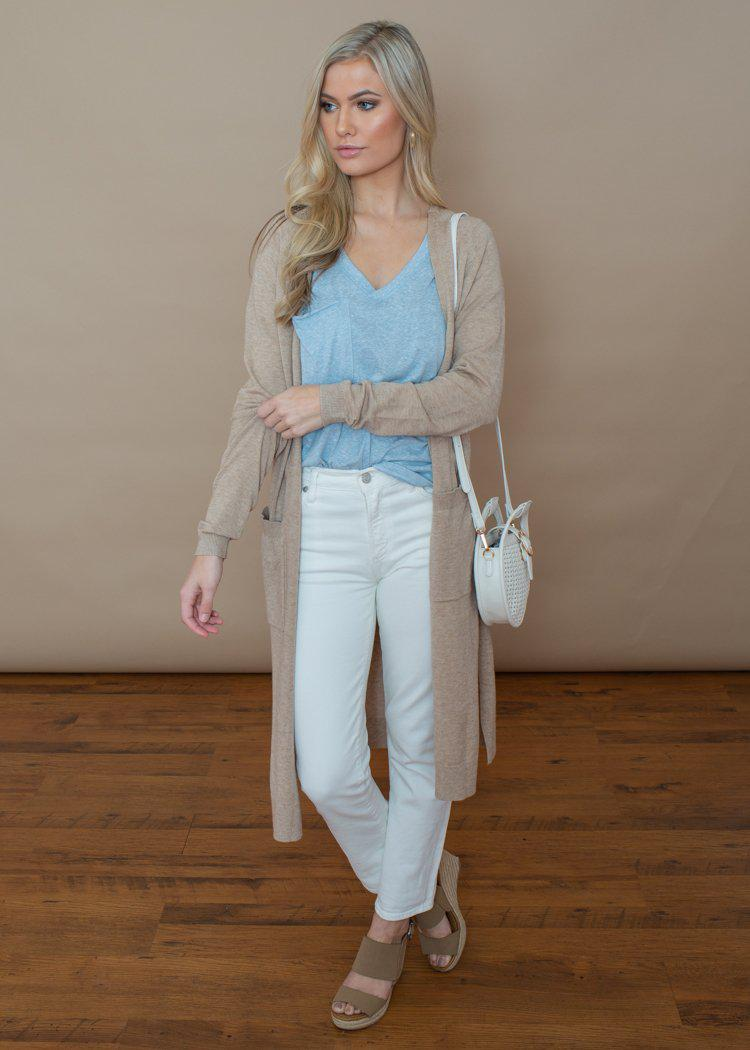 Trapasso Duster- Lightweight Knit Pocketed Cardigan-Oatmeal-Hand In Pocket