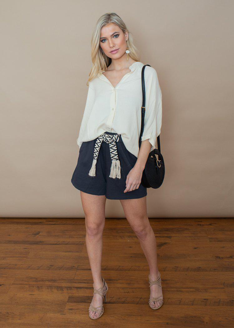 See U Soon Dark Grey Embroidered Belted Shorts-Hand In Pocket