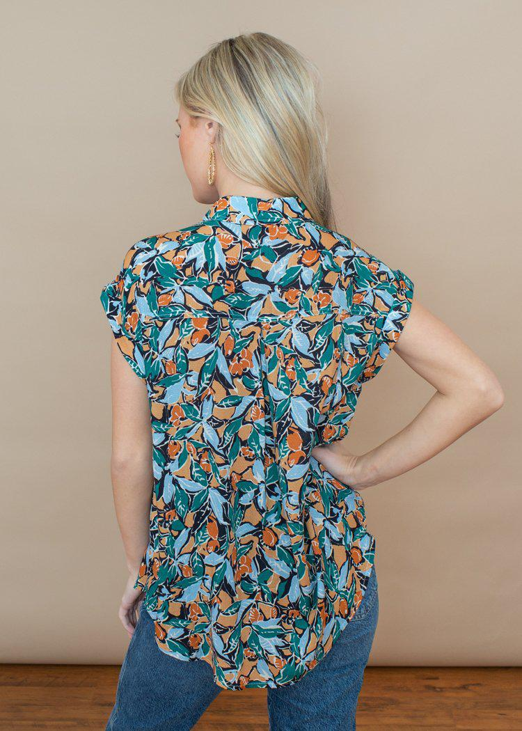 See U Soon Jeweled Tone Tropical Print Blouse