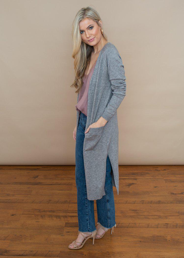 Trapasso Duster- Lightweight Knit Pocketed Cardigan-Heather Gray-Hand In Pocket