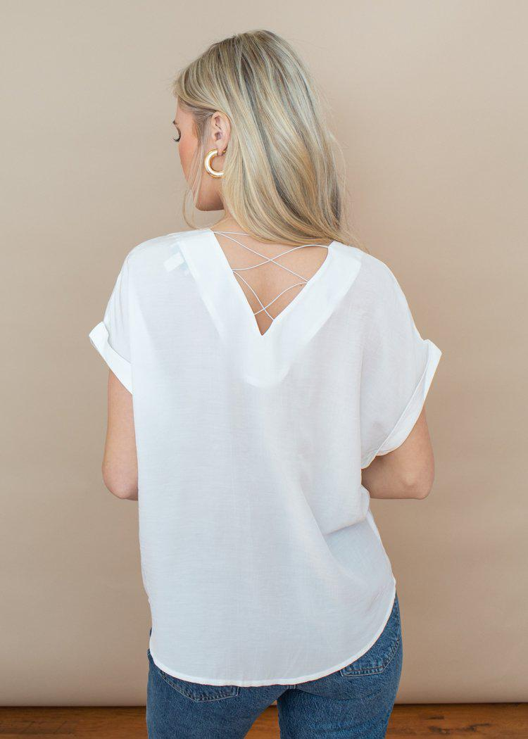 See U Soon Criss Cross Off White Short Sleeve Tunic-Hand In Pocket