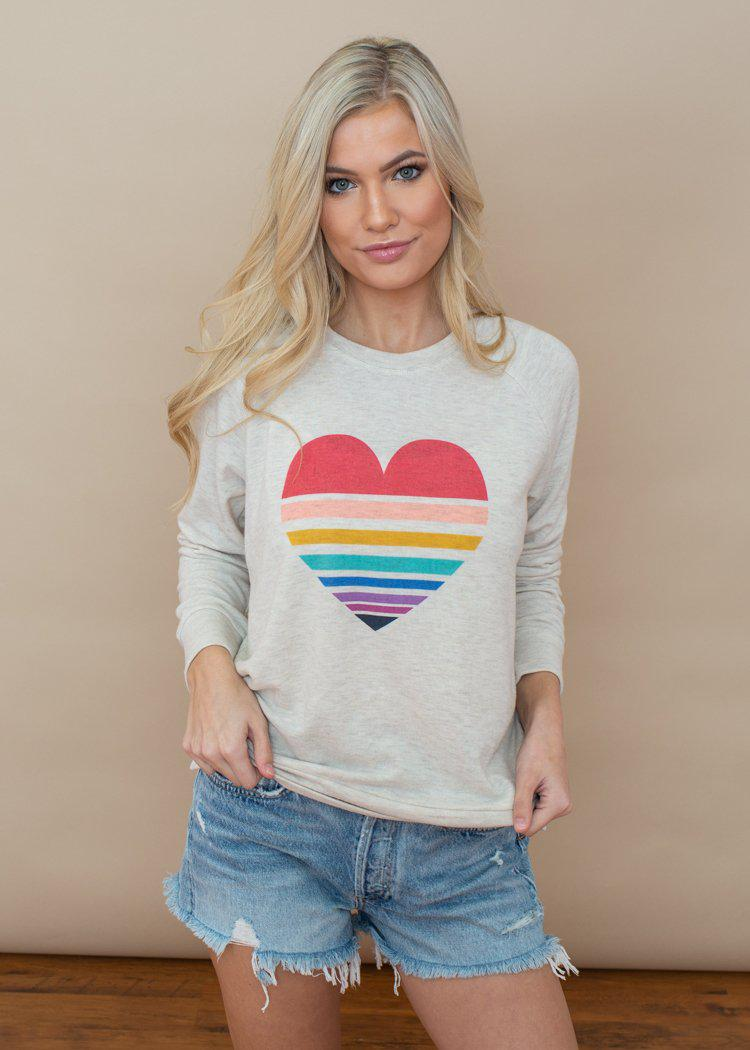 PJ Salvage Lovers Rainbow Striped Heart Crewneck Sweatshirt-Hand In Pocket