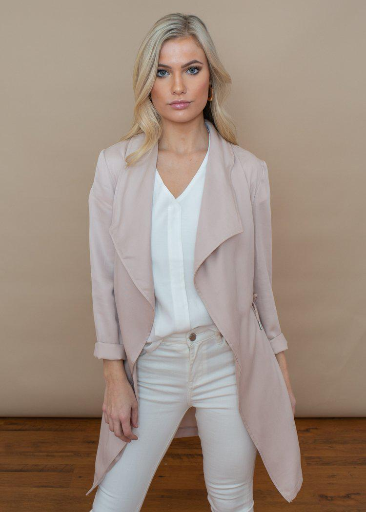 BB Dakota Blush Pink Let it Rain Trench Coat-Hand In Pocket