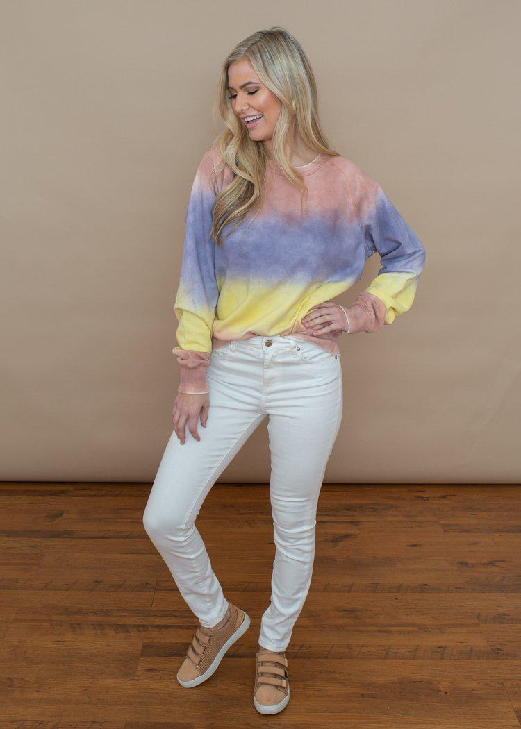 Washed Tie Dye Rainbow Long Sleeve Pullover-Hand In Pocket
