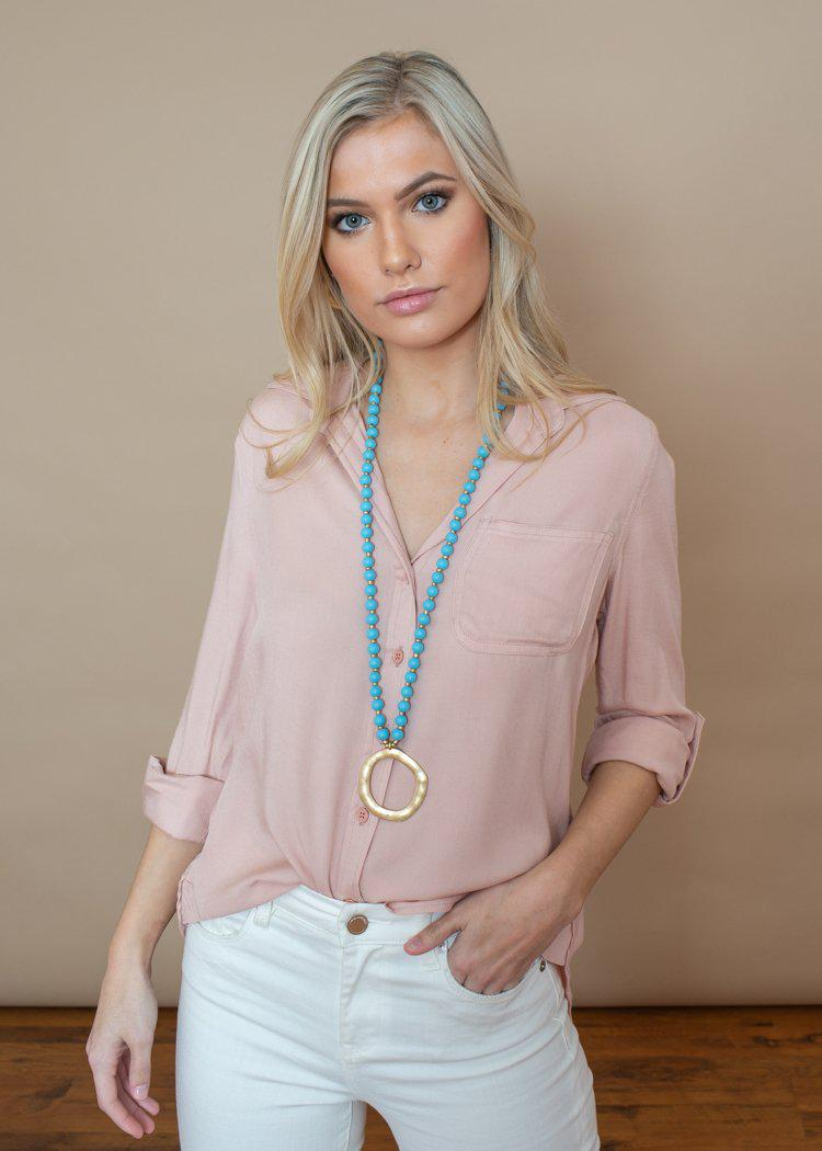 Velvet Heart Elisa Blush High Low Blouse ***FINAL SALE***-Hand In Pocket