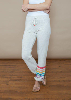 PJ Salvage Striped Rainbow Banded Pant-Oatmeal-***FINAL SALE***-Hand In Pocket