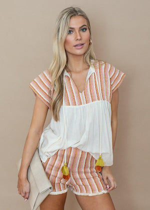 THML Ivory and Pink Embroidered Striped Tassel Top-***FINAL SALE***-Hand In Pocket
