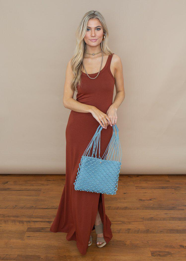 Bobi Copper Soft Tank Maxi Dress-Hand In Pocket