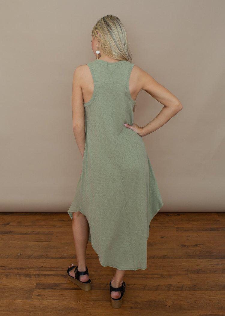 Z Supply Reverie Midi Dress- Pale Sage-Hand In Pocket