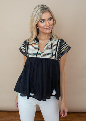 THML Multi Colored Embroidered Tassel Top-Hand In Pocket