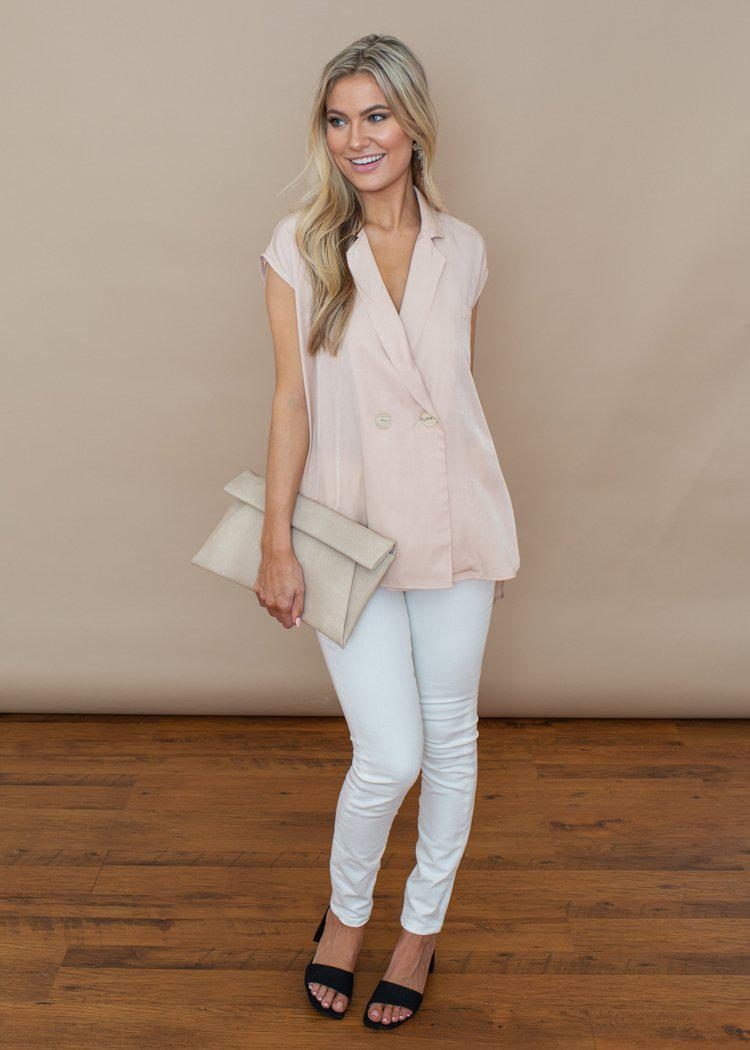 Pinch light beige Collared Button Up Sleeveless Top-Hand In Pocket