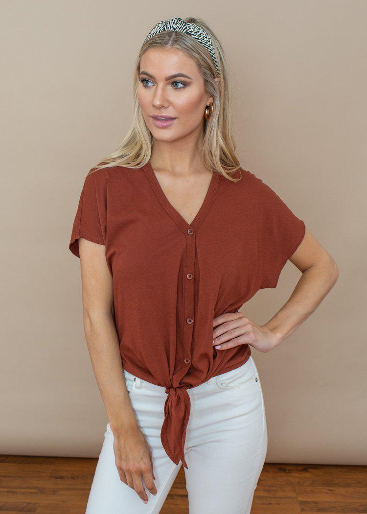 Bobi Copper Button Up Tie Front Top-Hand In Pocket