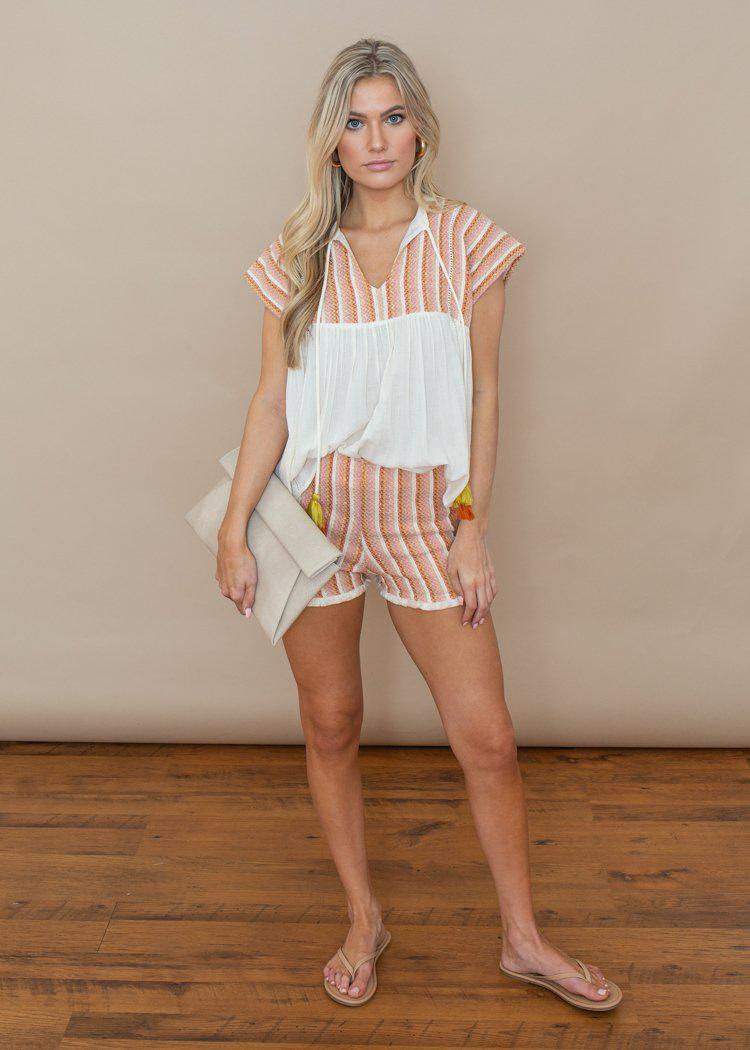 THML Ivory and Pink Embroidered Striped Tulum Shorts-***FINAL SALE***-Hand In Pocket