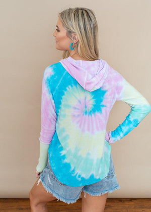 Rainbow Tie Dye Chaser Cozy Knit Hoodie-Hand In Pocket