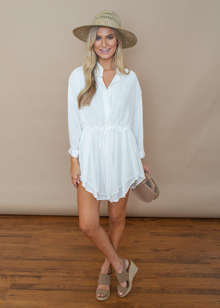 Pinch White Button Down Tunic Dress-Hand In Pocket