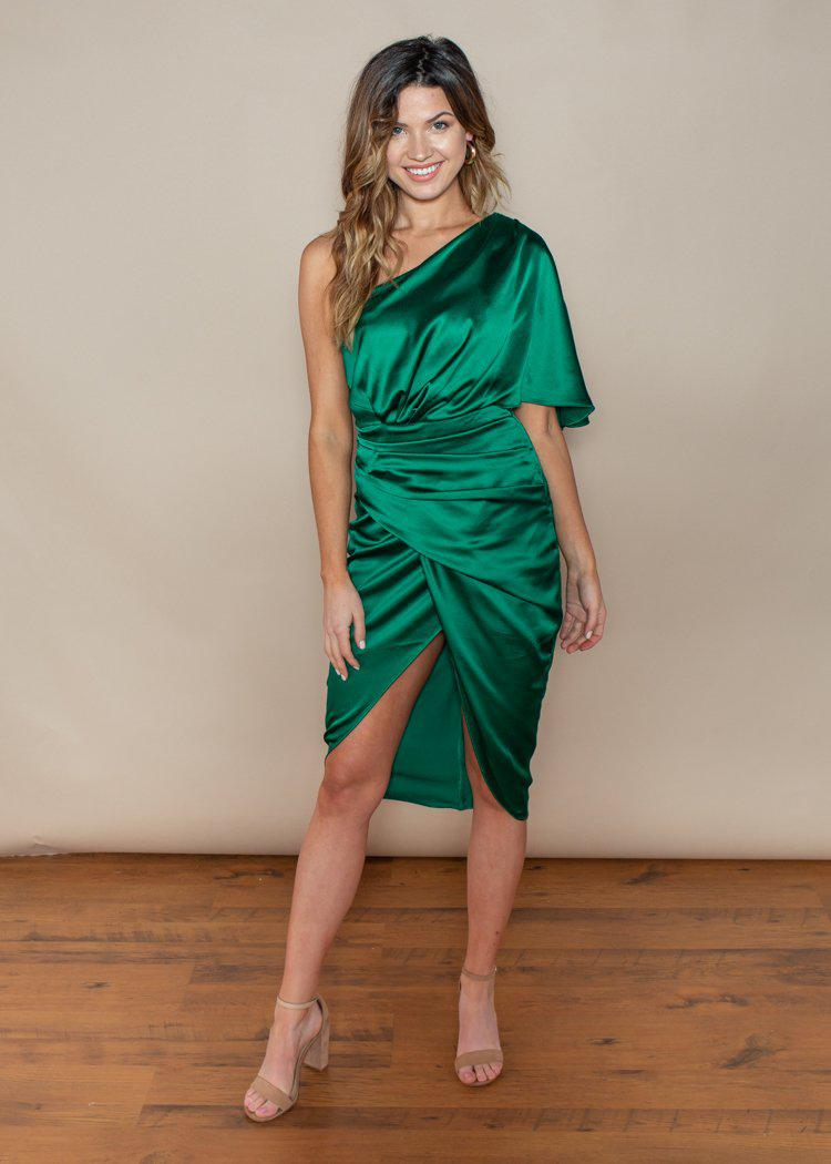 Do + Be One Shoulder Emerald Cocktail Dress-Hand In Pocket
