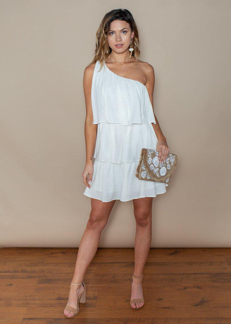 Do + Be One Shoulder White Ruffle Dress-Hand In Pocket