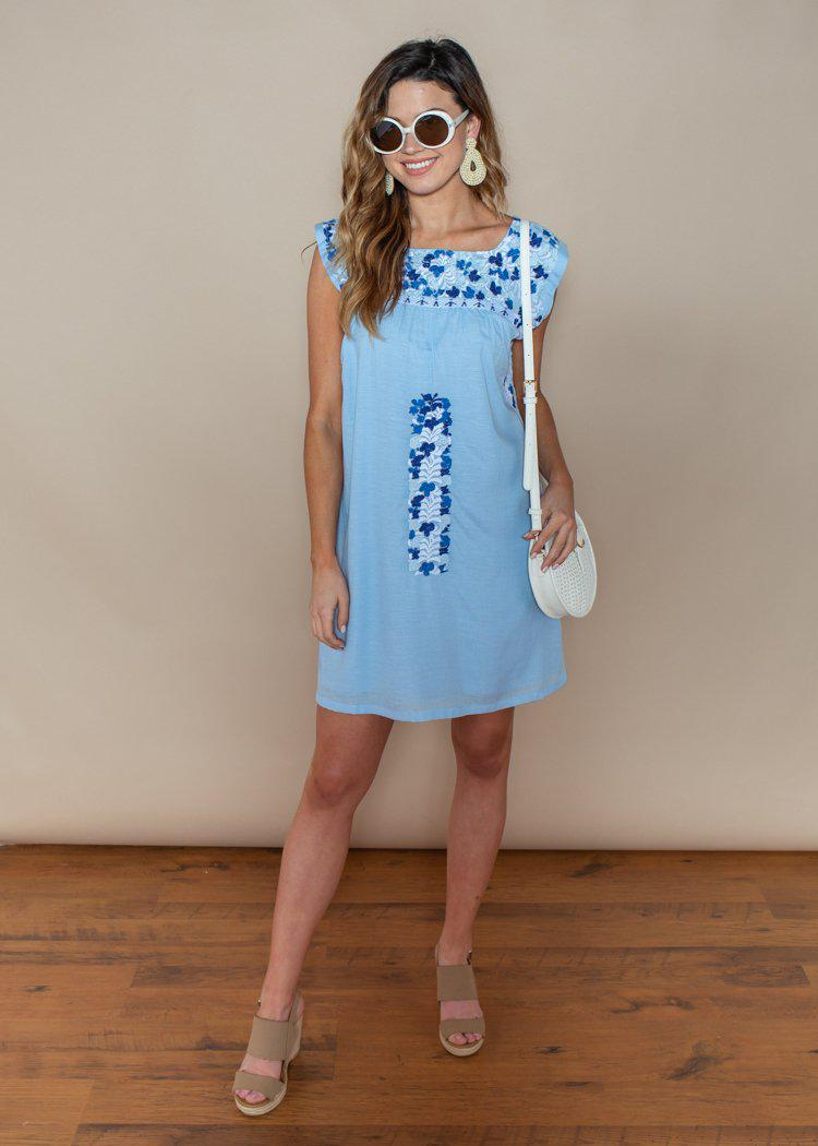 J. Marie Blue Two Tone Embroidered Dress-Hand In Pocket