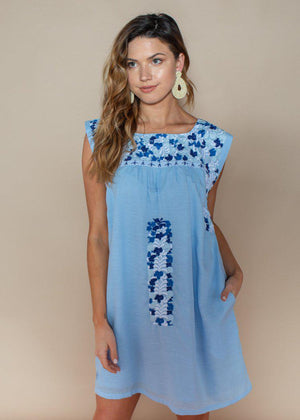J. Marie Libby Blue Two Tone Embroidered Dress-Hand In Pocket