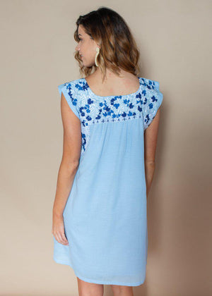 J. Marie Libby Blue Two Tone Embroidered Dress-***FINAL SALE***-Hand In Pocket