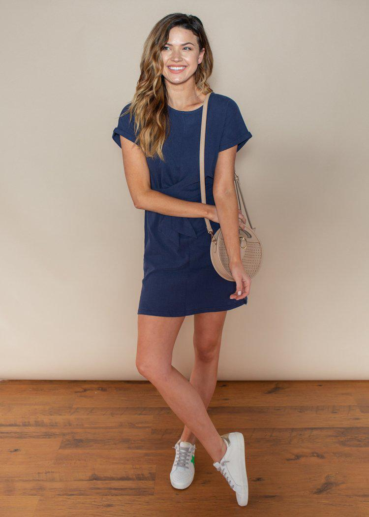 Pinch Navy Belted Tie Waist Knit Dress-Hand In Pocket