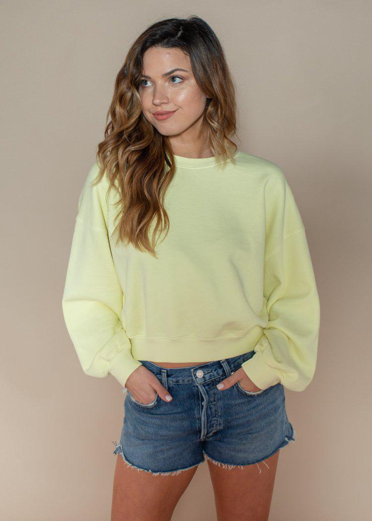 Agolde Balloon Sleeve Sweatshirt - Limoncello-Hand In Pocket
