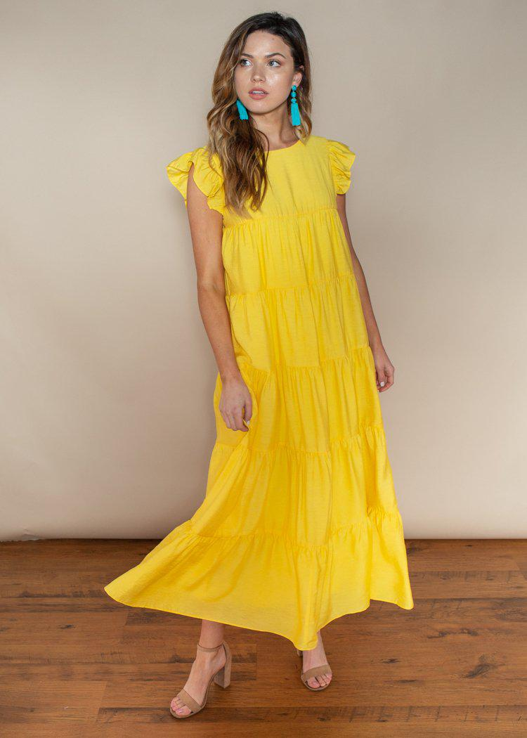 Tiered Yellow Ruffle Cap Sleeve Maxi Dress-Hand In Pocket