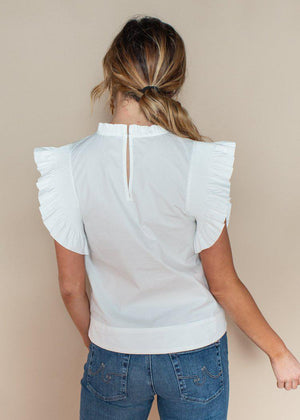 English Factory White Ruffled High Neck Cap Sleeve Top-Hand In Pocket