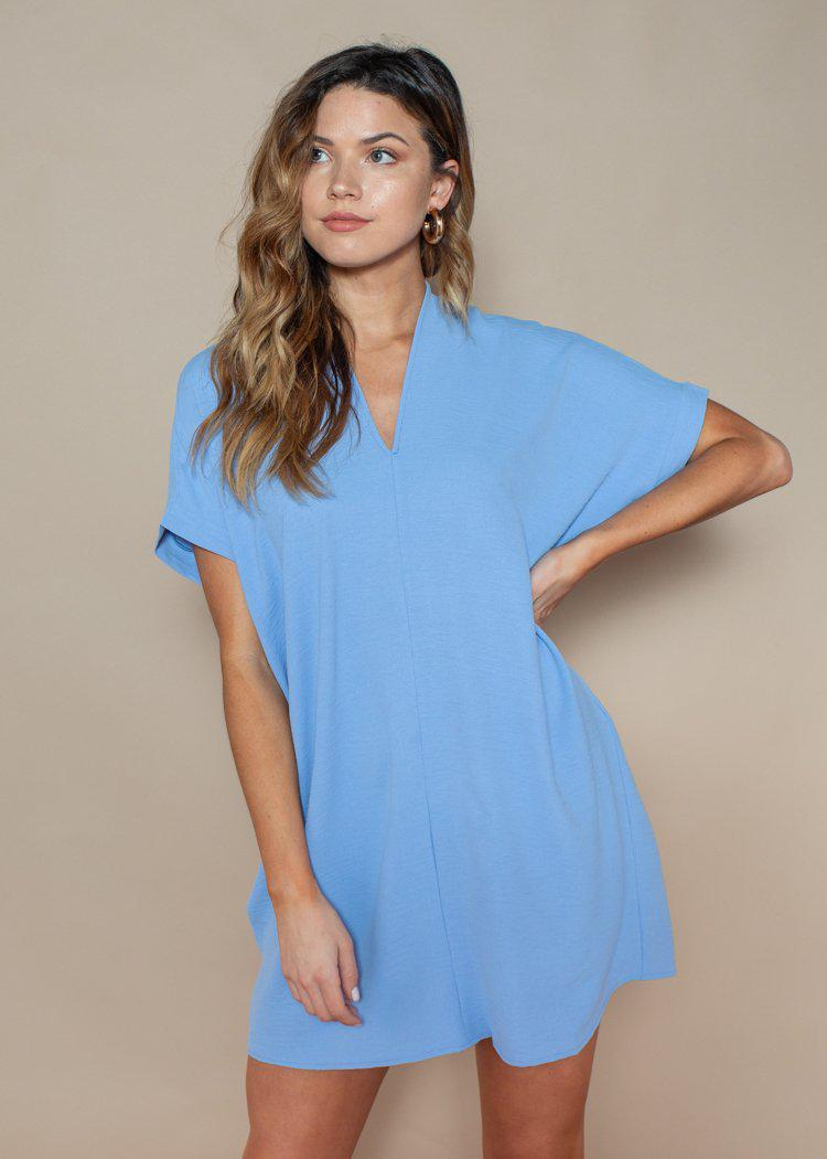 Karlie Light Blue Seville Tunic Dress-Hand In Pocket