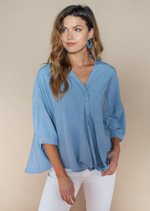 Pinch Twist Front Button Up Blouse-Hand In Pocket