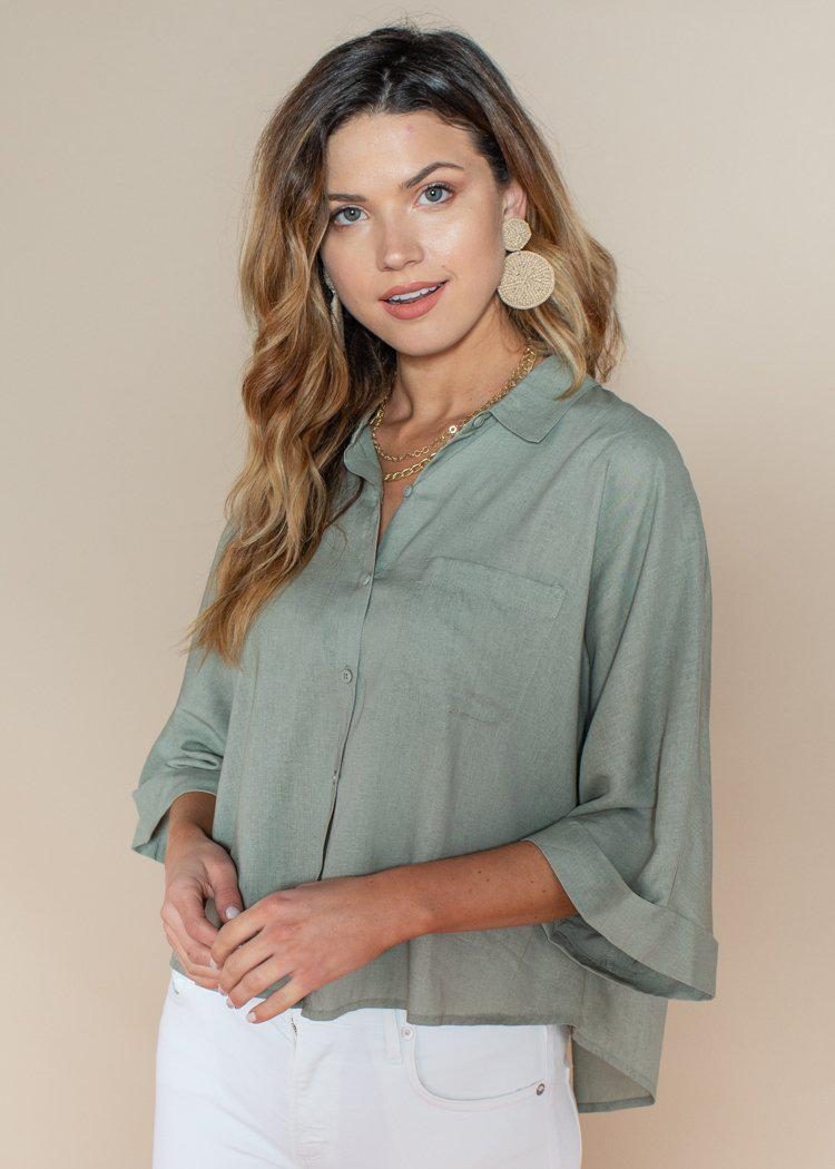 BB Dakota Sage Green Let's Split Dolman Top-Hand In Pocket