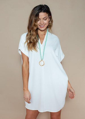 Karlie White Seville Tunic Dress-Hand In Pocket