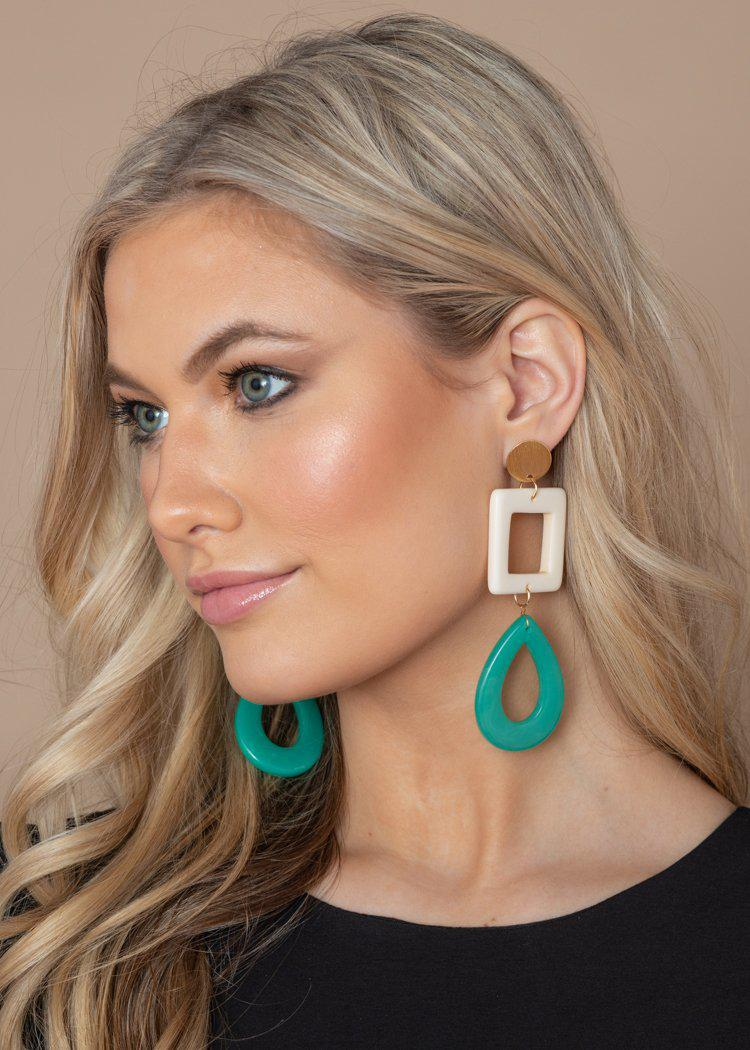 Kapalua Turquoise and White Drop Earrings-Hand In Pocket